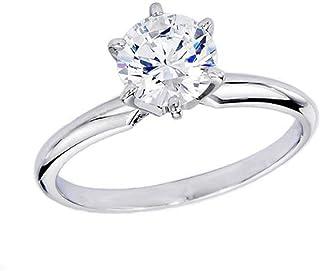 Dazzlingrock Collection IGI Certified 1.02 Carat (ctw) 14K Real Round Diamond Ladies Engagement Solitaire Ring, White Gold