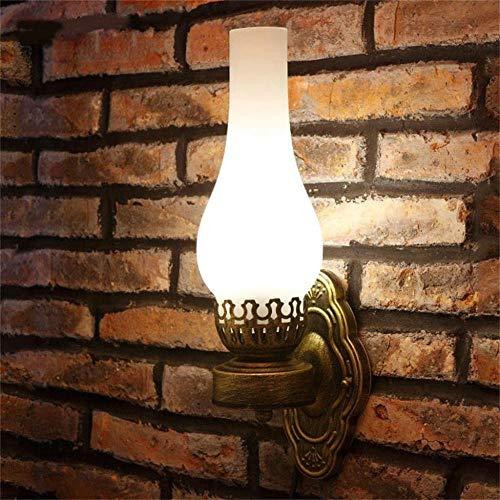 -Chinese muur Ouderwetse olie lamp Aisle Lights Creative Retro Bar Cafe Restaurant Slaapkamer Nachtlampjes Wandlamp, Kleur: Pure Light Crack glazen kap (Color : Frosted Glass Shade)