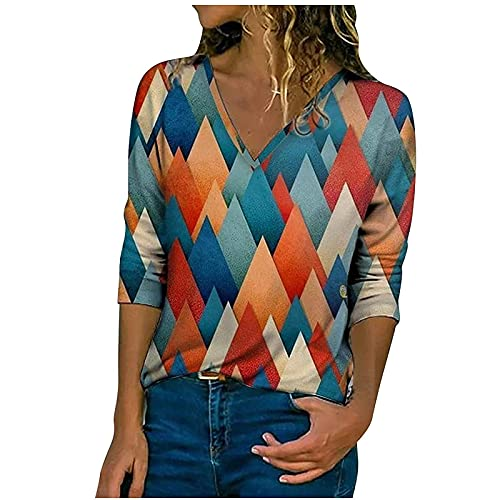 Workout Tops for Women Trendy Sexy V Neck Long Sleeve Tunic T-Shirt Vintage Rhombus Print Soft Comfy Blouses Pullover
