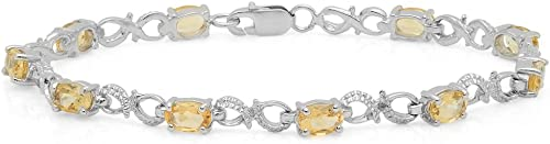 DazzlingRock Collection 2.78 Carat (ctw) Real Oval Citrine & Round White Diamond Accents Ladies Infinity Link Bracelet, Sterling Silver