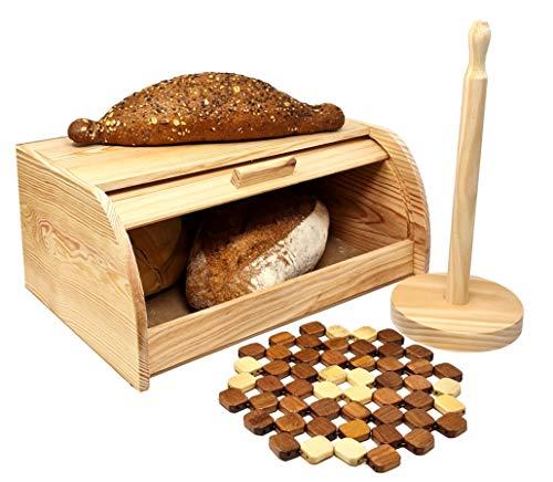 Confezione - Portapane in legno Portarotolo da cucina Sottopentola in bambù (legno)