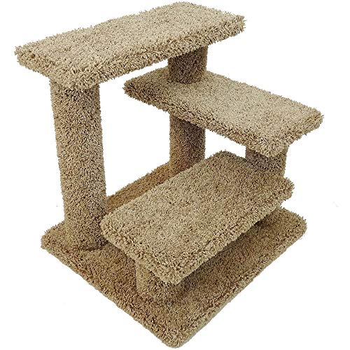 New Cat Condos Solid Wood Pet Stairs, Large, Brown