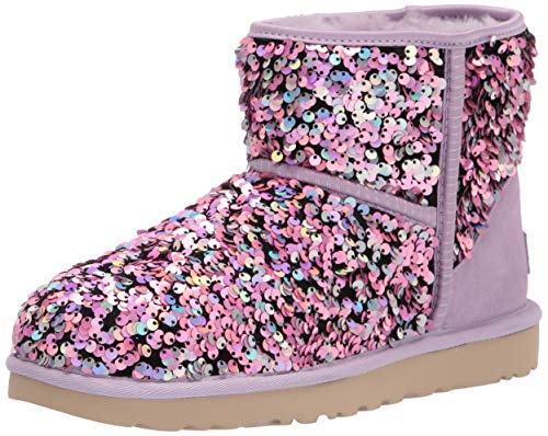 UGG womens Classic Mini Stellar Sequin Ankle Boot, Lilac Frost, 6 US