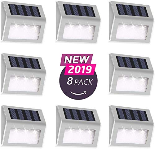 Otdair Solar Deck Lights, 3 LED Solar Step Lights Outdoor Auto On/Off Stainless Steel Solar Stair Lights Waterproof Wireless Solar Powered Lights for Fence Patio Garden Pathway - White 8 Pack