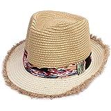 男の子と女の子の麦わら帽子、夏の旅行日焼け止めベビー子供用ビーチハットベビーサンハット(色:ベージュ)