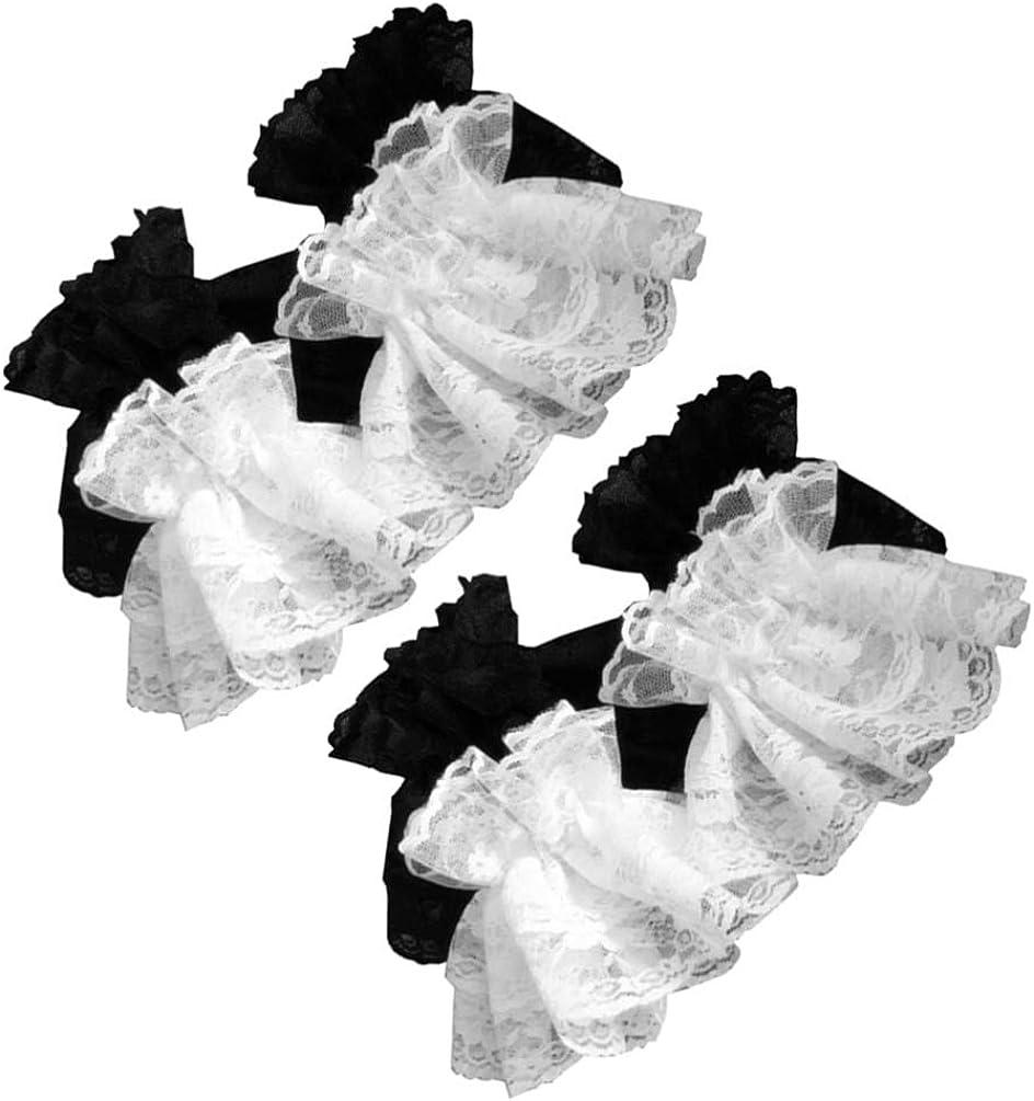 Amosfun 2 pairs Womens Vintage Sheer Floral Lace Wrist Length Gloves Lolita Sunblock Fingerless Bridal Gloves Ruffle Mitt for Wedding Tea Party Black White