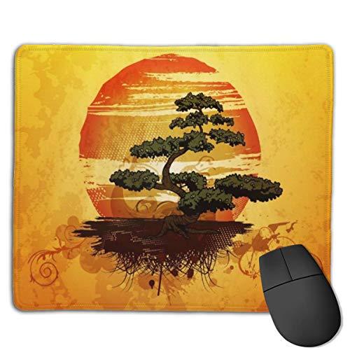Tappetino per mouse, tappetino per mouse con base in gomma impermeabile antiscivolo per laptop, albero giapponese dei bonsai Sunset