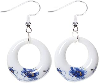 Chinese Ethnic Style Blue and White Porcelain Fashion Pattern Drop Dangle Earrings Jewelry