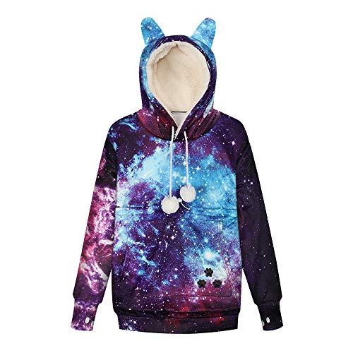 LUOYLYM 2019 Neue Explosion Modell 3D Sternen Digitaldruck Haustier Reißverschluss Tasche Pullover Katze Hund Tasche Hoodie Plus Samt Bwqd001 M