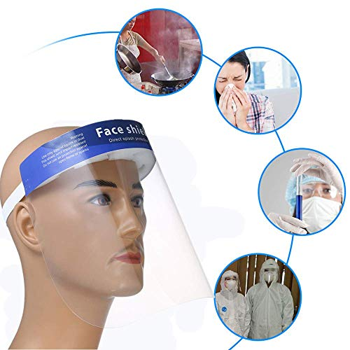 10 Pcs Face Shield Reusable Clear Anti Fog Safety Face Shields - 5 Full Face Shields - Adult Face Shield with Soft Sponge Padding & Elastic Headband