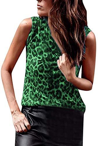 TankiniTopsfor Women Leopard Print Vest Sexy Slim Sleeveless Cotton T-Shirts Ladies Tops