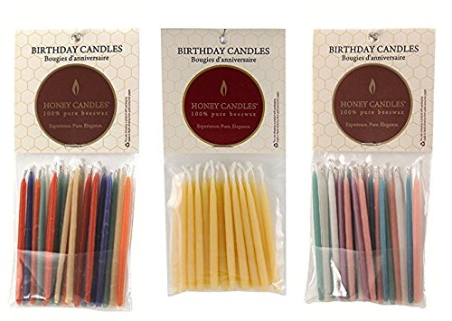 100% Pure Beeswax Birthday Candles Bundle (3 Packs of 20, Royal, Natural and Pastel Colors, 3 Inch Tall)