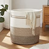 OIAHOMY Laundry Baskets-Laundry Hamper,Storage Basket with Handles,Decorative Basket for Living room,Woven Storage Basket for Toys Bin,Pillows, Blankets,Clothes-20x16in-Gradient Yellow