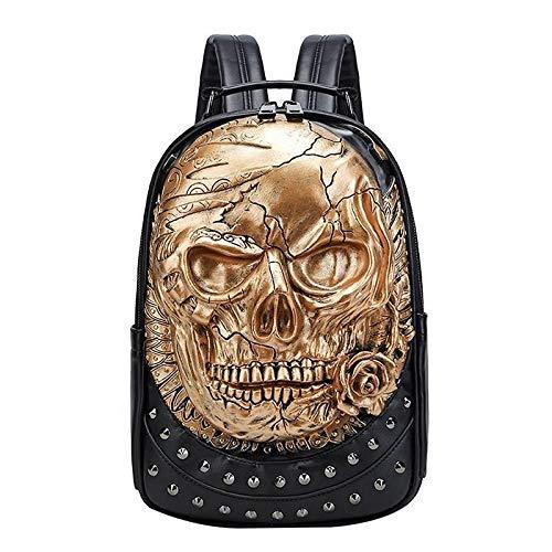 Neaer 1 mochila única y elegante 3D con diseño de calavera en relieve para amigos (color: negro)
