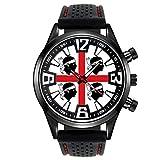 Timest - Bandera de Italia Cerdeña - Reloj para Hombre con Correa de Silicona Negro SF475