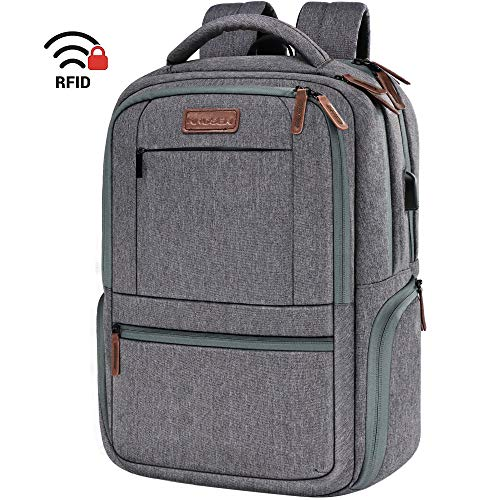 KROSER Laptop Backpack 15.6 Inch Laptop Computer Backpack with USB Charging Port Water-Repellent Travel Business Bag College School Casual Daypack for Men/Women-Grey