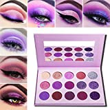 Purple Eyeshadow Palette Makeup Matte and Glitter,Afflano Professional Highly Pigmented 15 Color Eye Pallet,Dream Purple Pink Dark Red Violet Cute Bright Shimmer Travel Eyeshadow Pallet for Girl Women