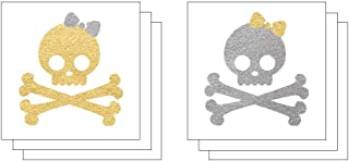 Girly Skull & Crossbones Temporary Tattoos (6-Pk) | Skin Safe | MADE IN THE USA| Removable
