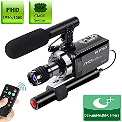 Aliynet Video Camera Camcorder Special for Night Vision hd Camcorder Hunting,Night Vision Camcorder with Mini Monocular,External Powerful Infrared Spotlight and Microphone,Remote Control,32GB Card