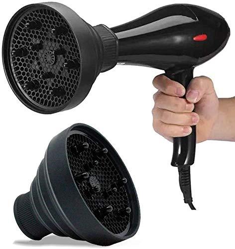 Diffusore per asciugacapelli a 5 colori, fodera per asciugacapelli pieghevole universale, strumento per acconciature, accessorio per parrucchiere per phon(Nero)
