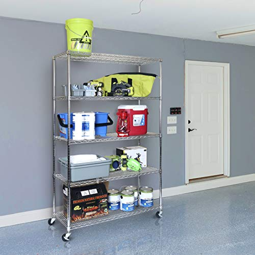"""Seville Classics UltraDurable Commercial-Grade 5-Tier NSF-Certified Steel Wire Shelving with Wheels, 48"""" W x 18"""" D, Chrome"""