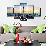 Cuadro en Lienzo Berlín TV Torre Paisaje Urbano Moderno Impresión de 5 Piezas Impresión Artística Imagen Gráfica Decoracion de Pared - Enmarcado
