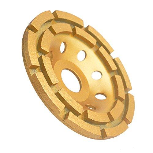 Gunpla 4-1/2-Inch Double-Row Diamond-Cup Grinding-Wheel for Concrete, Granite,Stone, Marble