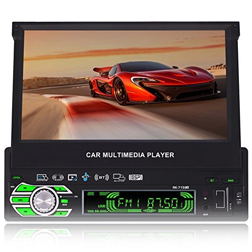 7.0-Inch Single Din In-Dash Flip Out Touch Screen Car Stereo with Rear View Camera Support USB/SD/MP3/MP5/FM/AM BT,Touchscreen,Wireless Remote