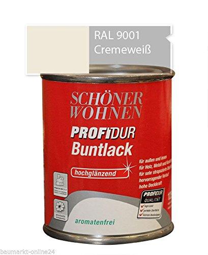 Profidur 125 ml Buntlack RAL 9001 Cremeweiß Hochglänzend Schöner Wohnen