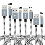 IDiSON 4Pack(3ft 6ft 6ft 10ft) iPhone Lightning Cable Apple MFi Certified Braided Nylon Fast Charger Cable Compatible iPhone Max XS XR 8 Plus 7 Plus 6s 5s 5c Air iPad Mini iPod (Gray +White)