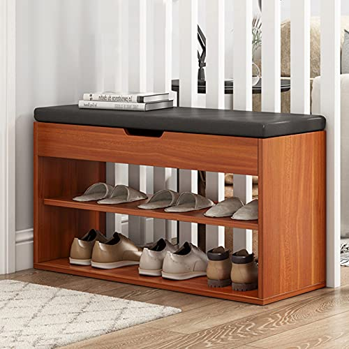 LTLJX Banco de Zapatos de Madera, Zapatero de 3 Niveles con Cojín para Asiento, Estantes de Almacenamiento de Zapatos con Estantes, Organizador de Almacenamiento