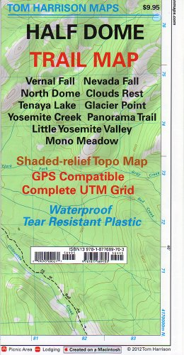 Half Dome: Glacier Point, Yosemite Creek, Tenaya Lake, Little Yosemite Valley trail map (Tom Harrison Maps)