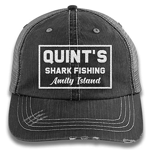 PIRDA Jaws Quint's Shark Fishing Embroidered Distressed Trucker Cap Black/Grey