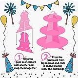 2 Stück Tortenständer aus Karton Etagere 3 Etagen Servierständer Muffinständer, Rosa Cupcake Ständer für Geburtstag Party, Kaffeetafel, Hochzeit, Babypartys - Wiederverwendbar - 5