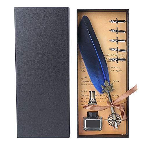 Schreibfeder für Feiertage, Weihnachten, Geburtstagsgeschenke mit 5 Schreibfedern in Geschenkbox(Blau)