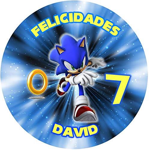 OBLEA de Sonic Personalizada con Nombre y Edad para Pastel o Tarta, Especial para cumpleaños, Medida Redonda de 20cm de diámetro