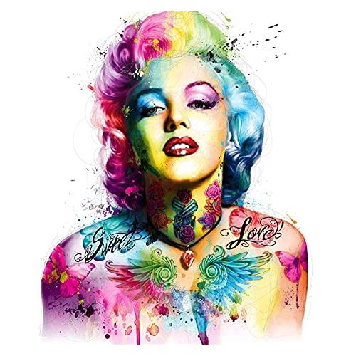 Pintura por números para Adultos Playa -Paint por números para niños de 8 a 12 años - Regalos del día de los pañales -Colorido Tatuaje Marilyn Monroe (Size : 40x50cm)