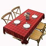 MCZ Checkered Tassel Design Tischdecke Waschbare Tischdecke Rechteckige Küchentischabdeckungen Staubdichte Kaffeegartentischdekoration (rot, 140x250cm)
