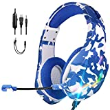 ONIKUMA Auriculares Gaming para PS4,Cascos Gaming PC con Sonido Envolvente 7.1,Micrófono Cancelación de Ruido,3.5mm y RGB LED,Auriculares para Juegos para PS5/Xbox One/Nintendo Switch/Tablet(Azul)