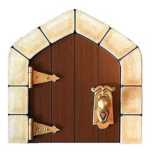 Mini cuento de hadas durable puerta patio decoración exquisita madera tallada a mano manijas puerta de cuento de hadas