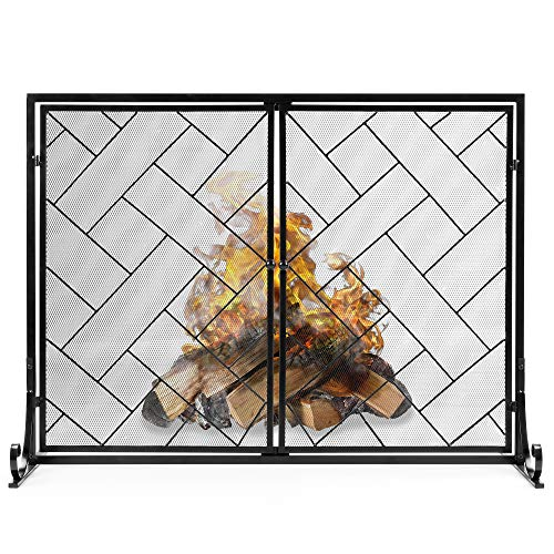 Cheapest Prices! Best Choice Products 44x33in 2-Panel Handcrafted Wrought Iron Decorative Geometric ...
