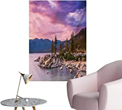 Anzhutwelve Lake Photo Wall Paper Secret Paradise Forest by The Lake with Surreal Miraculous Clouds in The Sky Art PrintPink Grey W24 xL36 Wall Poster