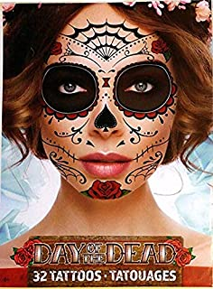 Day Of The Dead Sugar Skull Temporary Face Tattoos (RED ROSE)