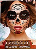 Day Of The Dead Sugar Skull Temporary Face Tattoos (RED ROSE)
