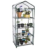 Parkland 4 Tier Mini Greenhouse Cold Frame PVC Plastic Outdoor Garden Steel Frame Plants Grow House