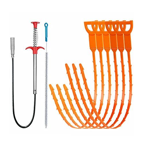 8 herramientas de eliminación de obstrucciones de drenaje, limpiador de fregadero, serpiente, limpiador de inodoro obstruido, 6 unidades de herramientas de drenaje de pelo +...