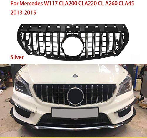 XDHN Adecuado para Mercedes-Benz Cla Clase W117 GTR GT R Cla200 Cla220 Cla260 Cla45 2013-2015 Sin Emblema, Plata, Plata