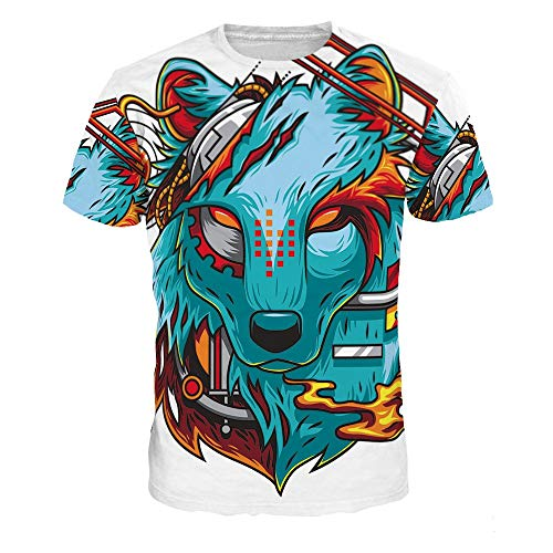 XIAOBAOZITXU T-Shirt Men And Women Lovers Costume Colored Wolf Short Sleeve 3D Digital Printing Round Neck Loose Sports Fashion Large Size T-Shirt Xl