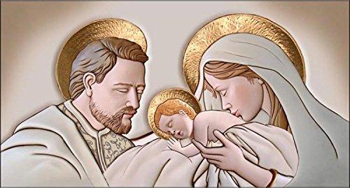 Deco Italia Quadro Sacro Religioso Capezzale Sacra Famiglia The Kiss Ceramic Oro...