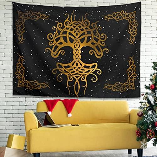 YCNJJB Tapiz Yggdrasil Árbol de la Vida Vikingo Vintage Tapices - Manteles grandes para sala de estar blanco 101,6 x 149,9 cm
